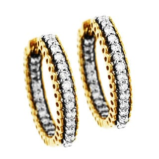 Sonia Bitton 14k Gold 3/4ct TDW Designer Diamond Hoop Earrings (H-I, I1-I2)