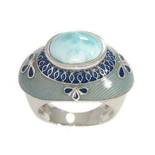Sterling Silver Larimar with Blue/ Grey Enamel Ring