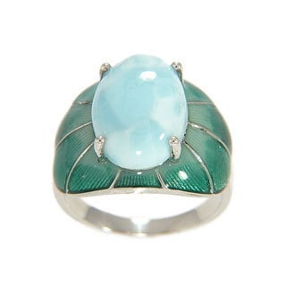 Sterling Silver Larimar with Enamel Ring