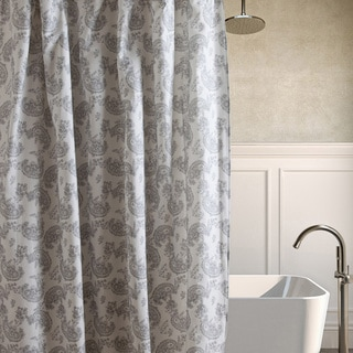 Laura Ashley Kingsley Gray Cotton Shower Curtain
