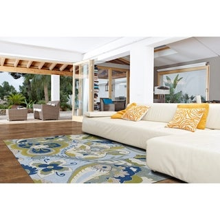 Indoor/ Outdoor Fiesta Spring Blue Rug (5' x 7'6)