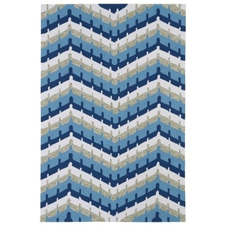 Indoor/ Outdoor Fiesta Blue Chevron Rug (9' x 12')
