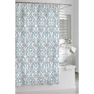 Scrolled Ikat Cotton Shower Curtain