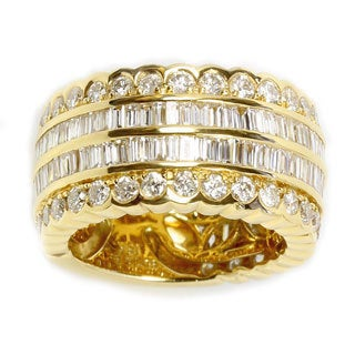 Sonia Bitton 18k Yellow Gold 2 7/8ct TDW Baguette and Round Diamond Scalloped Band (G-H, SI1-SI2)
