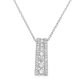 14k White Gold 1/2ct TDW Diamond Bridge Necklace (H-I, I1-I2)