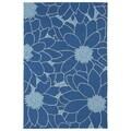 Indoor/ Outdoor Fiesta Blue Flower Rug (3' x 5')