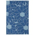 Indoor/ Outdoor Fiesta Blue Flower Rug (3' x 5')