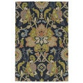 Indoor/ Outdoor Fiesta Navy Flower Rug (2' x 3')