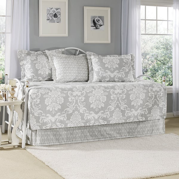 Laura Ashley Venetia Grey 5-piece Cotton Daybed Set (As Is Item)