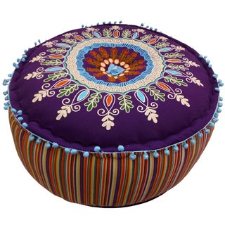 Celebration Purple Multicolor Embroided Pouf Ottoman