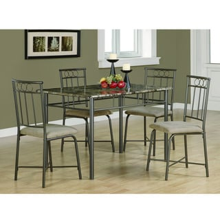 Dark Taupe/ Beige 5-piece Metal Dining Set