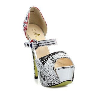 Machi Women's 'Focus-88' White Glittery Rhinestone Party Pumps