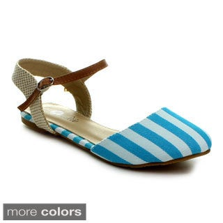 Machi Women's 'Faith-5' Striped Closed-toe Flat Sandals