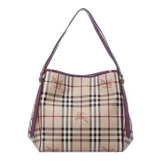 Burberry 'Canterbury' Small Beige and Purple Patent-trim Haymarket Tote
