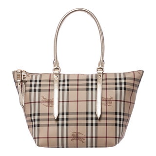 Burberry 'Salisbury' Small Beige and Light Gold Haymarket Tote