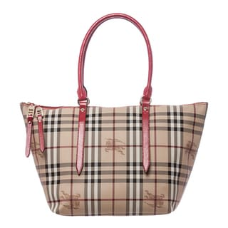 Burberry 'Salisbury' Small Beige and Red Haymarket Patent-trim Tote
