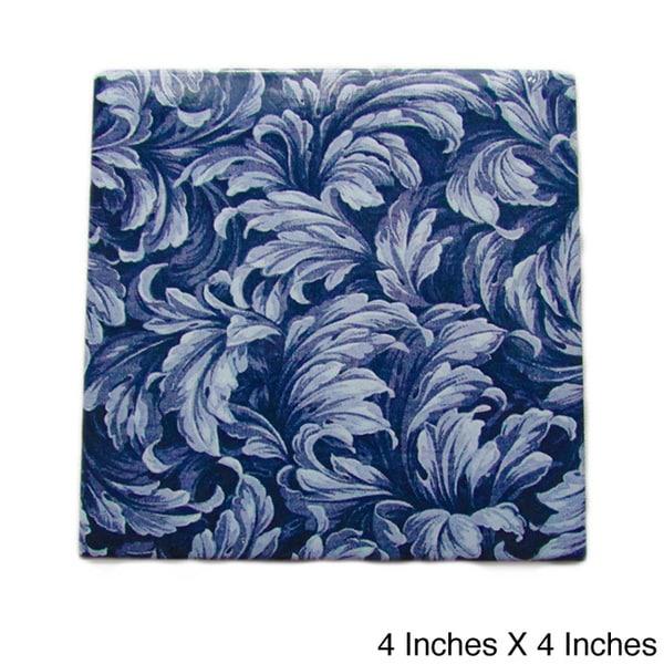 Modern Blue Floral Ceramic Wall Tile (Pack of 20)