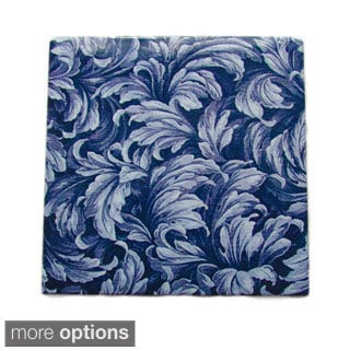 Modern Blue Floral Ceramic Wall Tile (Pack of 20)