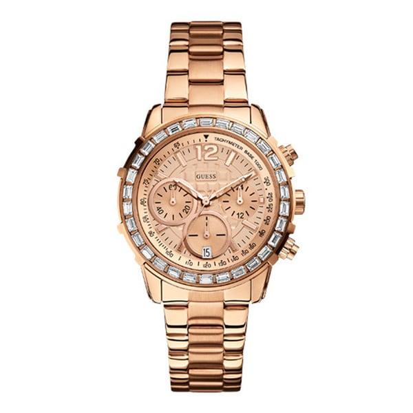 Guess Women's W0016L5 Sports Rose Gold Chronograph Watch