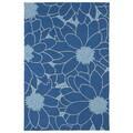 Indoor/ Outdoor Fiesta Blue Flower Rug (7'6 x 9')