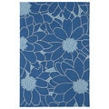 Indoor/ Outdoor Fiesta Blue Flower Rug (7'6 x 9')