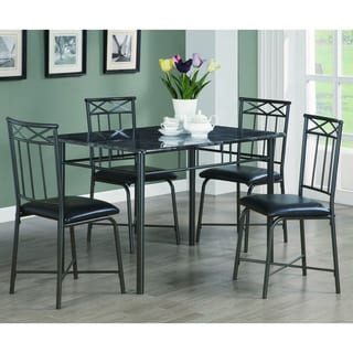 Dark Grey Metal/ Faux Marble 5-piece Dining Set