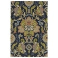 Indoor/ Outdoor Fiesta Navy Flower Rug (7'6 x 9')