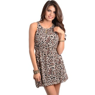 Feellib Women's Leopard Print Sleeveless Short Dress