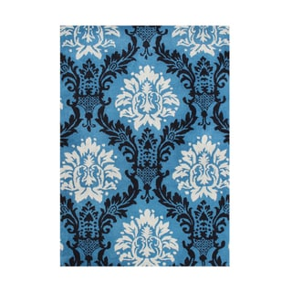 Handmade Alliyah French Blue/ Black New Zealand Blend Wool Rug (8' x 10')