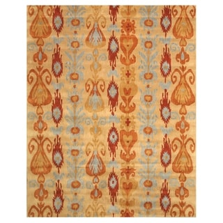 EORC Hand-tufted Wool Beige Ikat Rug (8'9 x 11'9)