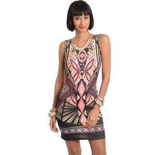 Feellib Women's Geo Pattern Sleeveless Mini Dress