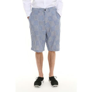 Men's Light Blue Gingham Patchwork Shorts
