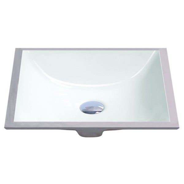 ... White Vitreous Porcelain Undermount Bathroom Sink (18 x 13 inches