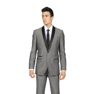 Zonettie by Ferrecci Men's Grey and Black Shawl Collar 2-piece Tuxedo