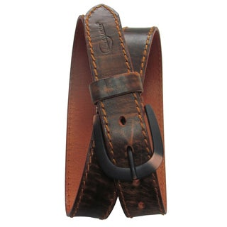 Amerileather Men's Rust Topstitched Cowhide Traveler Belt