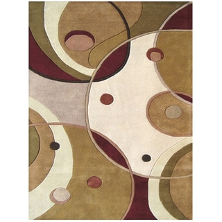 Hand-tufted Geometric Beige/ Multi Wool Rug (9' x 12')