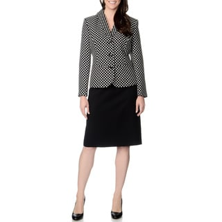 Danillo Women's Black and White Polka Dotted Skirt Suit