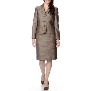 Danillo Women's Champagne and Brown Textured Skirt Suit