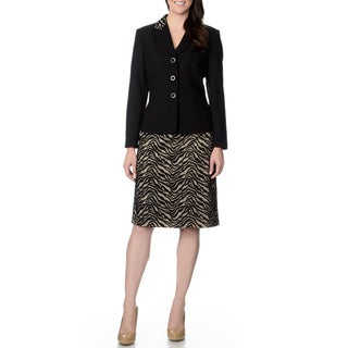 Danillo Women's Black and Animal Print Skirt Suit