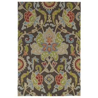 Indoor/ Outdoor Fiesta Brown Flower Rug (3' x 5')