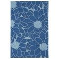 Indoor/ Outdoor Fiesta Blue Flower Rug (2' x 3')