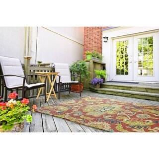 """Indoor/ Outdoor Fiesta Red Flower Rug (5' x 7'6) - 5' x 7'6"""""""