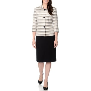Danillo Women's Beige and Black Striped Skirt Suit