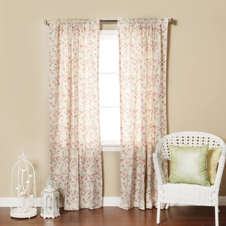 Floral Rose Print 84-inch Rod Pocket Curtain Panel Pair