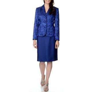Danillo Women's Royal Blue Brocade Jacket Skirt Suit