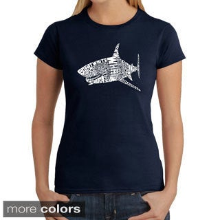 Los Angeles Pop Art Women's 'Shark Names' T-shirt