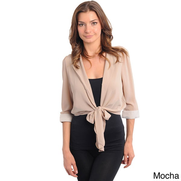 Shop The Trends Women's Lightweight Tie-front Sash Jacket