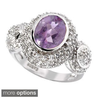 Sterling Silver Amethyst, Citrine and White Topaz Ring