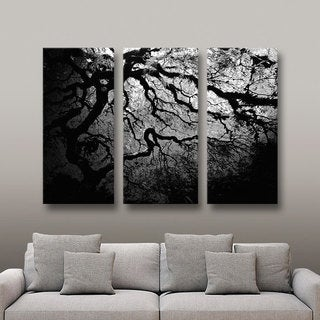 John Black 'Silver Twilight: Japanese Tree' 3-piece Gallery-wrapped Canvas Art Set