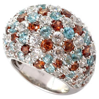 Sterling Silver Round-cut Multi-color Zircon Dome Ring